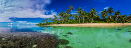 Tropical beach with coral reef on south side of Upolu, Samoa Island with many palm trees