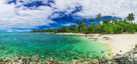 Tropical beach on south side of Upolu, Samoa Island with many palm trees