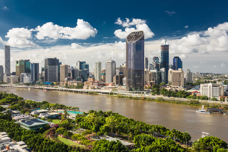 BRISBANE, AUSTRALIA - March 24 2018: Areal image of Brisbane CBD and South Bank. Brisbane is the capital of QLD and the third largest city in Australia Editorial