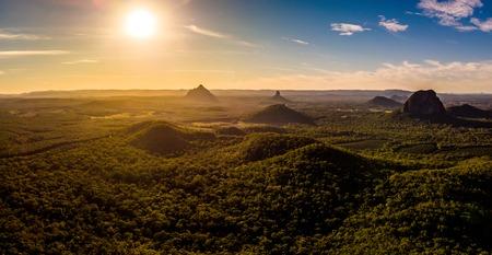 Panoramic aerial of Glasshouse Mountains on the Sunshine Coast