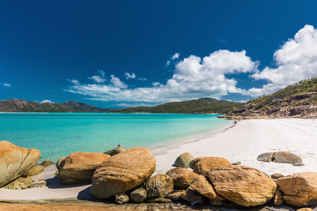 Rocks on amazing Whitehaven Beach with white sand in the Whitsun