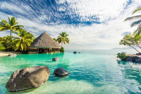 Piscine à débordement avec palmiers rochers, île de Tahiti, Polynésie française