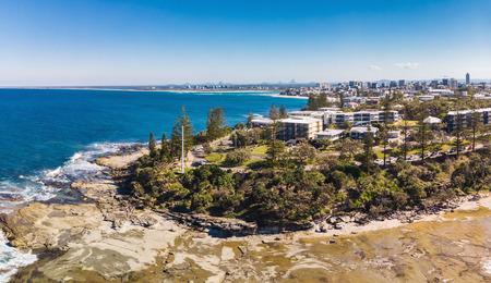 Aerial drone view of Shelly Beach at Caloundra, Sunshine Coast, Queensland, Australia 写真素材