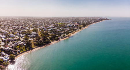 Aerial drone view of Woody Point and Margate on Redcliffe peninsula, Brisbane, Australia