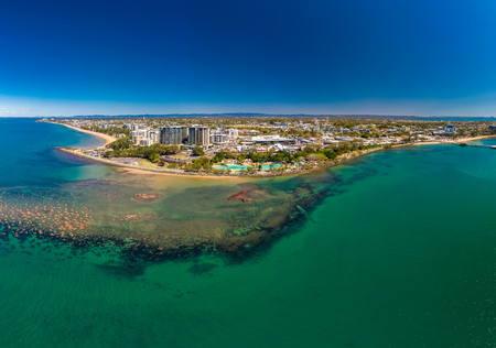 Aerial drone view of Settlement Cove Lagoon, Redcliffe, Brisbane, Australia Editorial