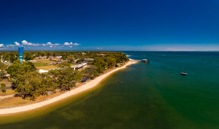 Aerial drone view of Bongaree Jetty on Bribie Island, Sunshine Coast, Queensland, Australia