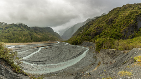 Hiking to the Franz Josef glacier in South Alps, South island of New Zealand