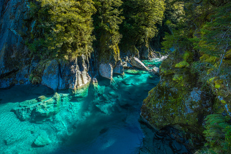 Famous turist attraction - Blue Pools, Haast Pass,  New Zealand, South Island Stock Photo