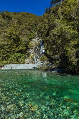 Fantail Falls, Haast Pass, Mt Aspiring National Park, New Zealand, South Island