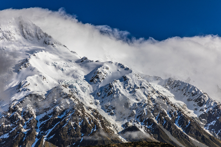 Mouintains in Hooker Valley Track in Aoraki National Park, New Zealand, South Island