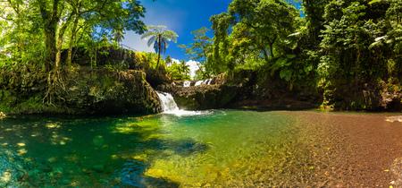 Vibrant Togitogiga falls with swimming hole on Upolu, Samoa Islands Banque d'images