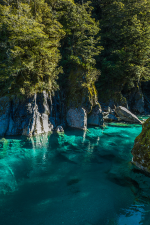 Famous turist attraction - Blue Pools, Haast Pass,  New Zealand, South Island Stok Fotoğraf