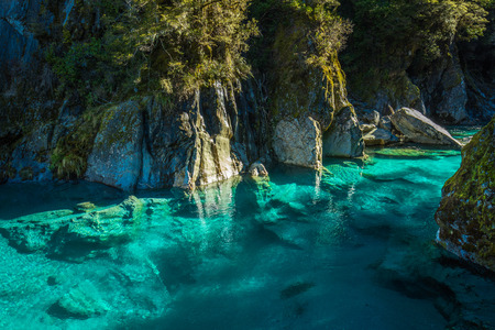 Famous turist attraction - Blue Pools, Haast Pass,  New Zealand, South Island Stok Fotoğraf - 117770197
