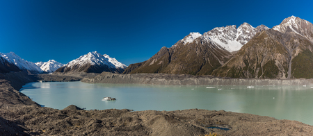 Blue Lakes and the mountains on the Tasman Valley Walk and Tasman Glacier View, South Island, New Zealand Stock Photo