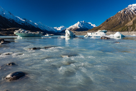 Tasman Glacier Lake with icebergs and snowy mountains, Aoraki Mount Cook National Park, New Zealand