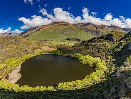 Diamond Lake in the Mt Aspiring National Park near Wanaka, New Zealand, seen from Rocky Mountain Stock Photo