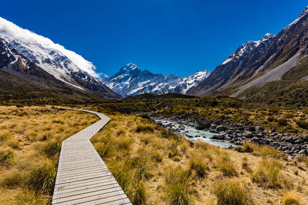 Mouintains in Hooker Valley Track in Aoraki National Park, New Zealand, South Island Standard-Bild