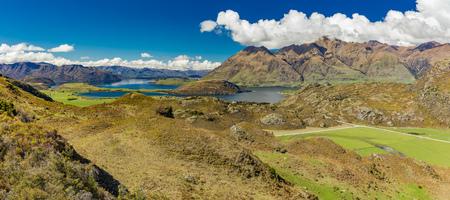 Rocky Mountain and Diamond Lake in the Mt Aspiring National Park near Wanaka, New Zealand Stock Photo