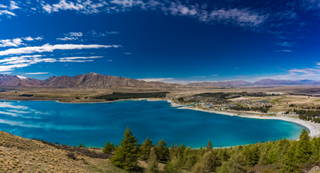 Beautiful Lake Tekapo with reflection of sky and mountains, New Zealand Stok Fotoğraf
