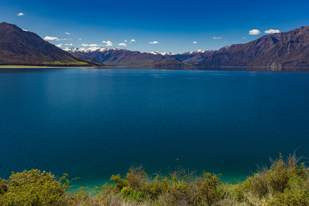 Panoramic vibrant photos of Lake Hawea and mountains, South Island, New Zealand