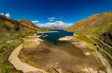 Panoramic drone aerial photos of Lake Hawea and mountains, South Island, New Zealand