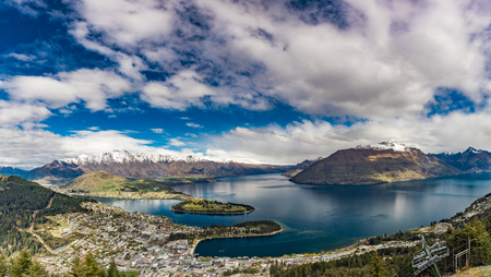 Panoramic view, The remarkables, Lake Wakatipu and Queenstown, South Island, New Zealand