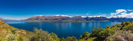 Aerial drone view of north side of Lake Wanaka at Makarora, South Island, New Zealand