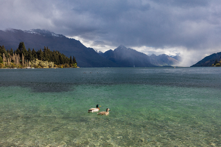 Panoramic view of The remarkables, Lake Wakatipu and Queenstown, South Island, New Zealand
