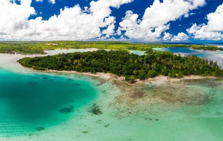 Aerial drone view of small islands and lagoons, Efate Island, Vanuatu, near Port Vila