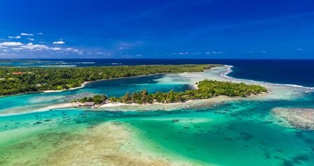 Drone aerial view of Erakor Island, Vanuatu, near Port Vila, and surroundings