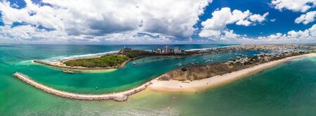 Drone view of famous Mooloolaba beach and marina on sunny day