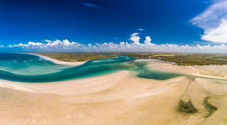 Drone aerial view of Elliott Heads Beach and River, Queensland, Australia Imagens