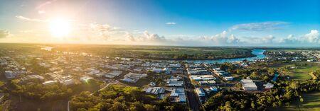Aerial drone view of central area of Bundaberg, Queensland, Australia
