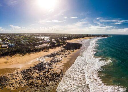 Aerial drone view of Bargara beach and surrounding area, Queensland, Australia