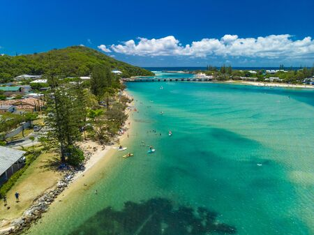 Aerial drone view of Tallebudgera Creek and beach on the Gold Coast, Queensland, Australia