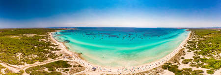 Summer on Majorca Es Trenc ses Arenes beach in Balearic Islands, Spain Banco de Imagens