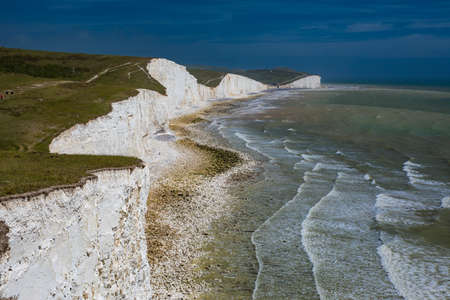 Severn Sisters white cliffs over the ocean at Cuckmere, in the South Downs National Park, East Sussex, UK