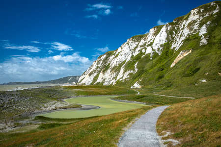 Scenic view of Samphire Hoe Country Park with white cliffs, south England, UK Stock Photo