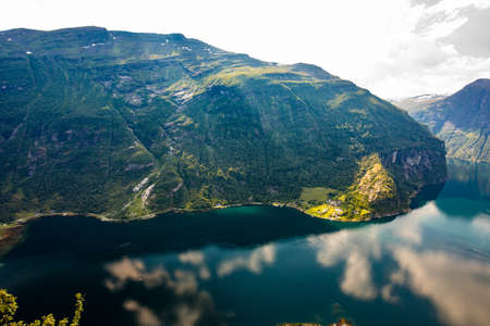 Panoramic and drone landscape of Geiranger fjords, Geirangerfjord, Norway. Banco de Imagens