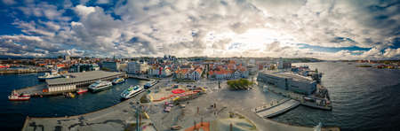 Aerial drone panoramic view of Stavanger city center, downtown.
