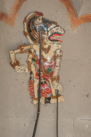 shadow puppet: Ancient Chinese shadow puppet for, hand-painted wood. Bali, Indonesia