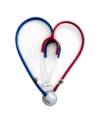 Two stethoscopes forming a heart. red right, left blue. Background white