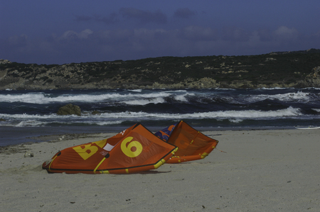 kite on the sand of Santa Teresa di Gallura. Sardinia Italy Stock Photo