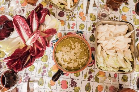 Bagna cauda. Typical regional Piedmont dish. italy