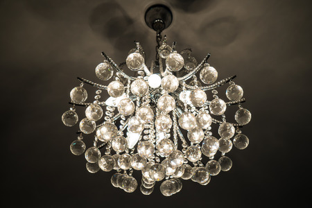 medium size: medium size silver Chandelier at the ceiling Stock Photo