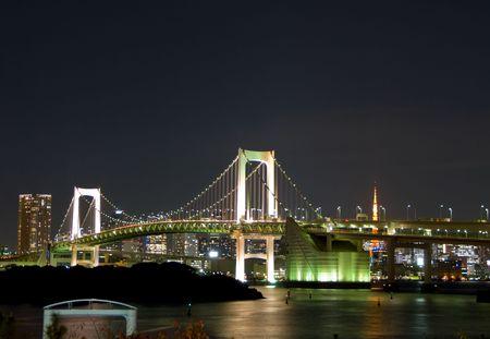 Rainbow Brige in Tokyo (night view) photo
