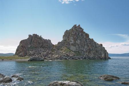 Shamanka Rock, Burkhan Cape, Olkhon island, Baikal lake, Siberia, Russia   photo