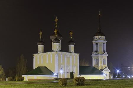 voronezh: Admiralteiskaya church. Central of Voronezh town. Night landscape.