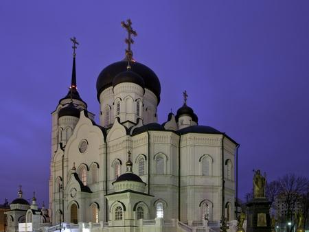 voronezh: Blagovezhensky Cathedral. Central of Voronezh town. Night landscape.