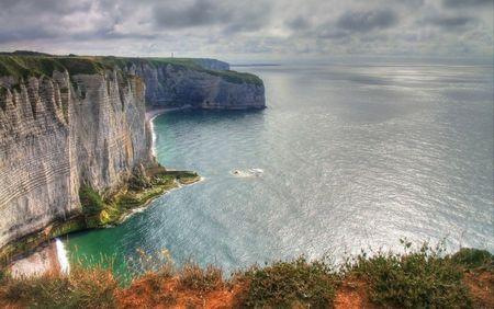 Landscape Etretat Normandy France Stock Photo